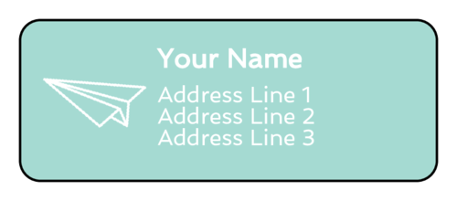 Paper Airplane Address Labels (Round Corner Rectangle)