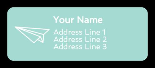 Paper Airplane Address Labels (Round Corner Rectangle)