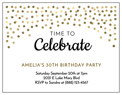 "OL423 - 4.25"" x 5.5""  - Golden Confetti Cardstock Birthday Invite"