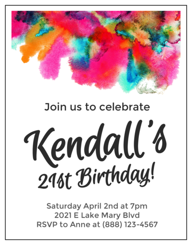Watercolor Cardstock Birthday Invites pre-designed label template for OL423