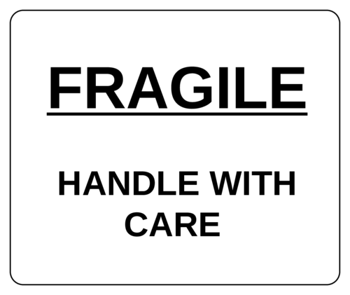"OL2681 - 1.5"" x 1.5"" Square - ""Fragile - Handle with Care"" Label"