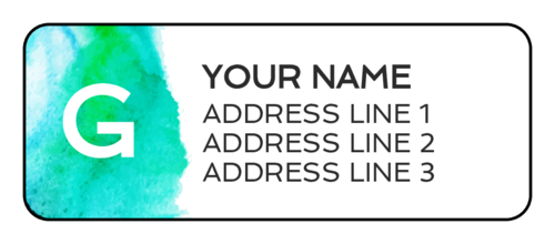Watercolor Monogram Address Labels (Round Corner Rectangle)