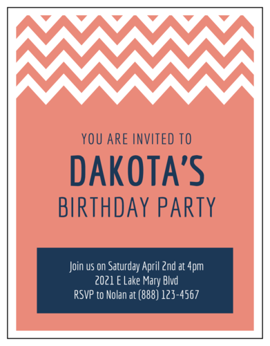 "OL423 - 4.25"" x 5.5""  - Chevron Cardstock Birthday Party Invitations"