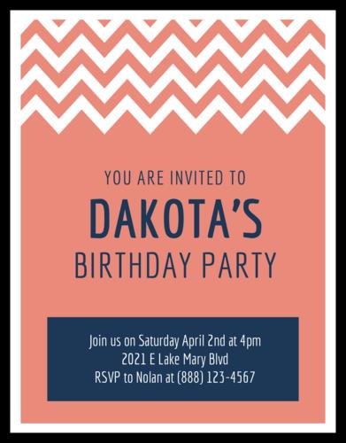 "OL423 - 4.25"" x 5.5""  - Chevron Cardstock Birthday Party Invitations"