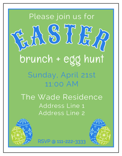 "OL423 - 4.25"" x 5.5""  - Easter Brunch Invitation"