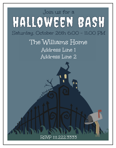 "OL423 - 4.25"" x 5.5""  - Halloween Party Invitation"
