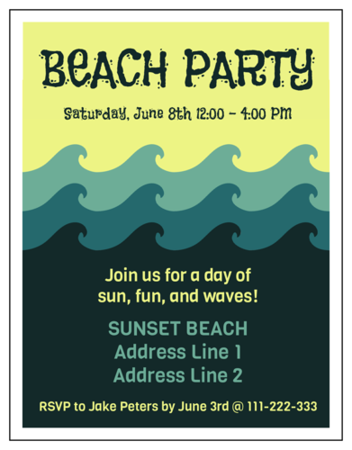 "OL423 - 4.25"" x 5.5""  - Beach Party Invitation"