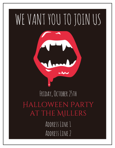 "OL423 - 4.25"" x 5.5""  - Halloween Party Vampire Invitation"