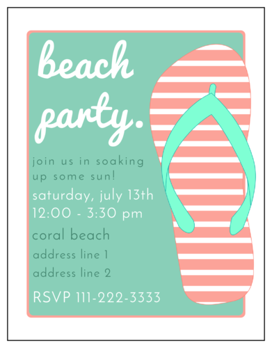 "OL423 - 4.25"" x 5.5""  - Beach Party Flip Flop Invitation"