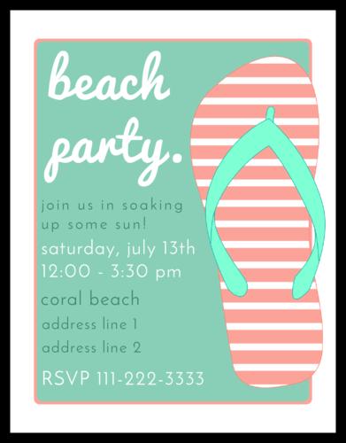 "OL423 - 4.25"" x 5.5""  - Beach Party Flip Flop Invitation"