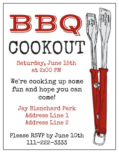 "OL423 - 4.25"" x 5.5""  - BBQ Cookout Cardstock Invitation"