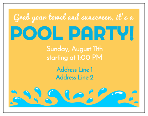 "OL423 - 4.25"" x 5.5""  - Pool Party Cardstock Invitation"