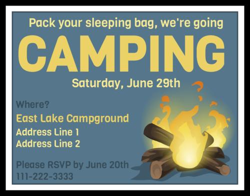 """OL423 - 4.25"""" x 5.5""""  - Camping Cardstock Invitation"""