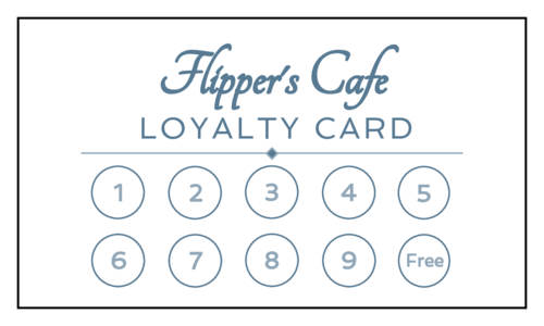Cafe' Loyalty Card pre-designed label template for OL244