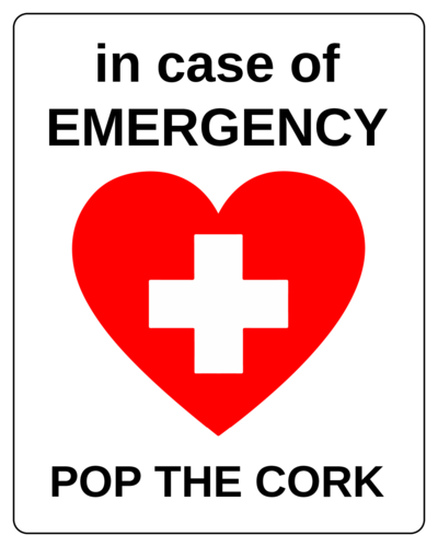 """In Case of Emergency, Pop the Cork"" Wine Bottle Labels (Round Corner Rectangle)"