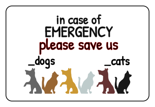 Pet Emergency Labels (Round Corner Rectangle)