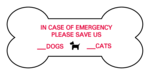 Pet Emergency Dog Bone Labels