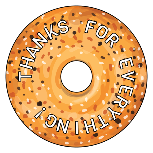"OL5600 - 3"" Mini CD - Everything Bagel Thank You Favor Labels"