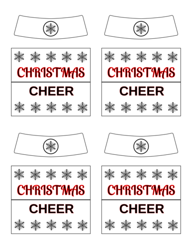 """Christmas Cheer"" Beer Bottle Labels pre-designed label template for OL2936"