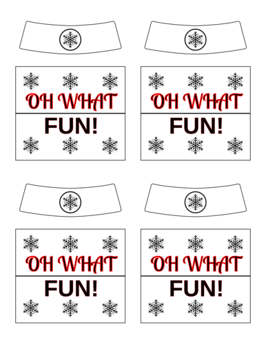 """Oh What Fun!"" Beer Bottle Labels pre-designed label template for OL2936"
