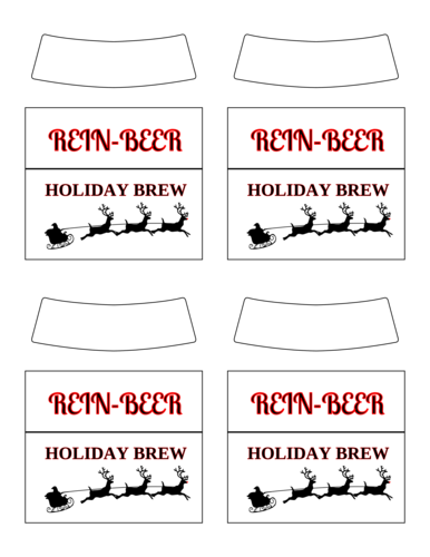 "OL2936 - 3.5"" x 2.99"" - ""Rein-Beer Holiday Brew"" Beer Bottle Labels"
