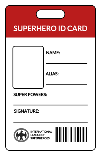Superhero ID Card Labels pre-designed label template for OL202