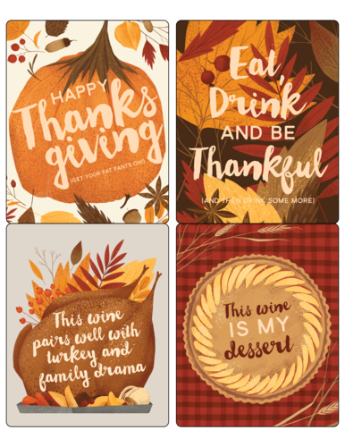 "OL475 - 4"" x 5"" - Funny Thanksgiving Wine Labels"