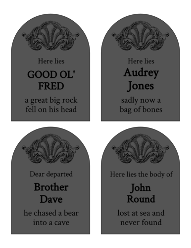 Free printable gravestone labels for Halloween party favors