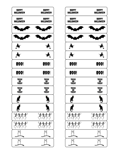"OL173 - 3"" x 0.625"" - Halloween Party Favor Variety Labels"