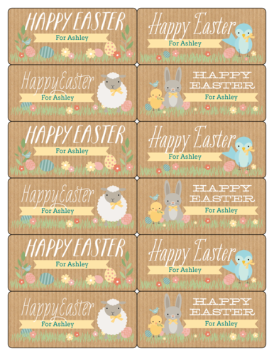"""Happy Easter"" Assorted Gift Tag Labels pre-designed label template for OL700"