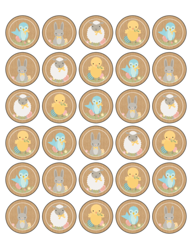 "OL2088 - 1.5"" Circle - Assorted Easter Stickers"