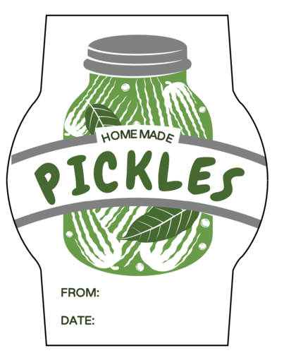 """Homemade Pickles"" Jar Labels pre-designed label template for OL2933"