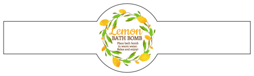 "OL1103 - 8.5"" x 2.375"" - Lemon Bath Bomb Wrap Around Labels"