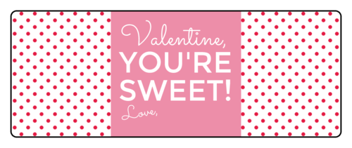 "OL1809 - 3.75"" x 1.4375"" - ""Valentine, You're Sweet!"" Valentine's Day Gift Labels"