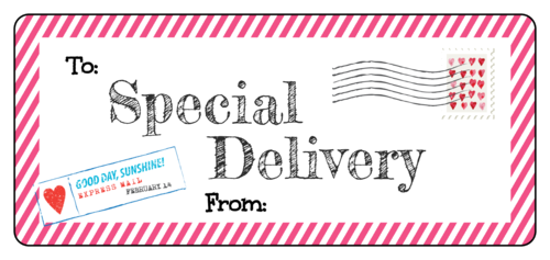 "OL394 - 4.5"" x 2"" - ""Special Delivery"" Valentine's Day Gift Labels"