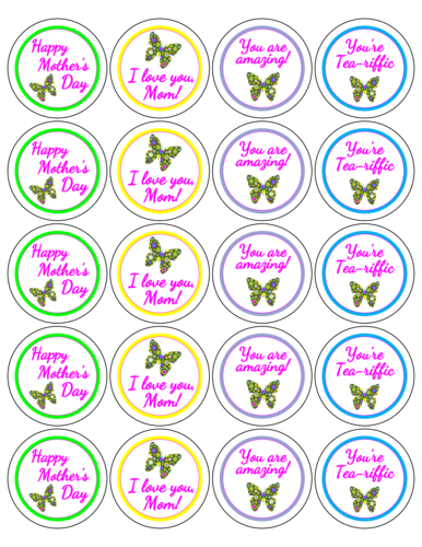 "OL5375 - 2"" Circle - Assorted Mother's Day Butterfly Labels"