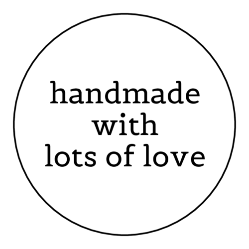 "OL1025 - 1"" Circle - ""Handmade with Lots of Love"" Labels"