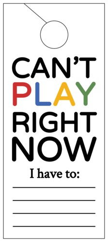 """Can't Play Right Now"" Cardstock Door Hangers pre-designed label template for OL246"