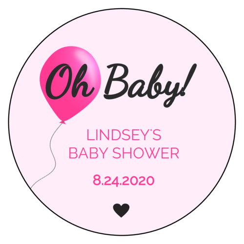 "OL375 - 3.33"" Circle - ""Oh Baby!"" Baby Shower Labels"