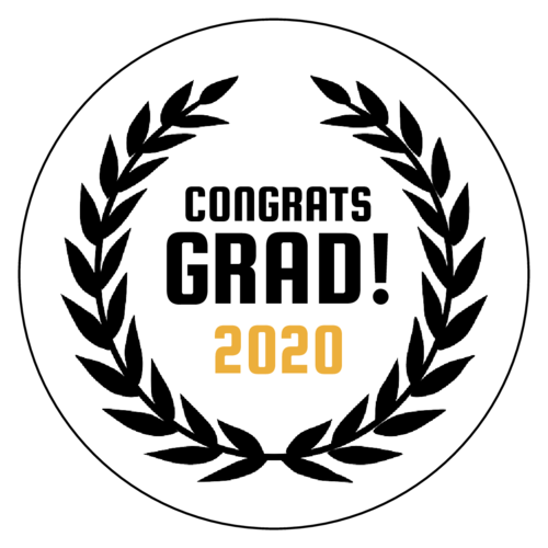"OL1025 - 1"" Circle - ""Congrats Grad!"" Graduation Favor Labels"