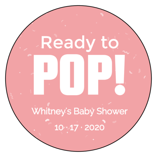 "OL375 - 3.33"" Circle - ""Ready to POP!"" Baby Shower Labels"
