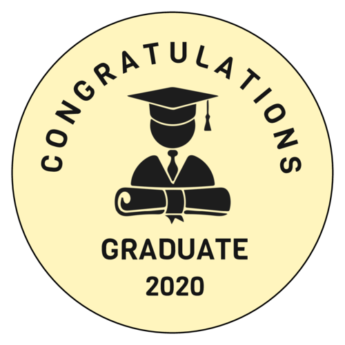 Sticker template with graduate silhouette in cap, gown, and diploma