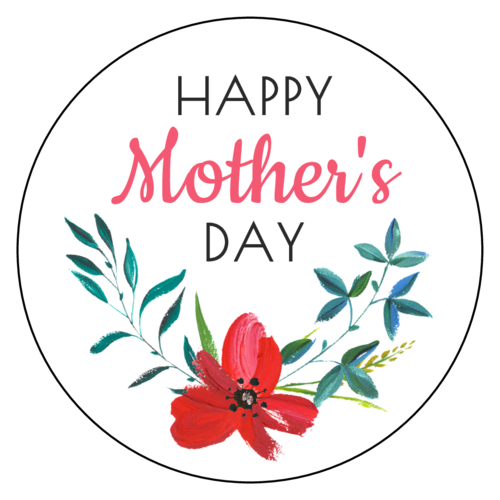 "OL1025 - 1"" Circle - Happy Mother's Day Floral Labels"