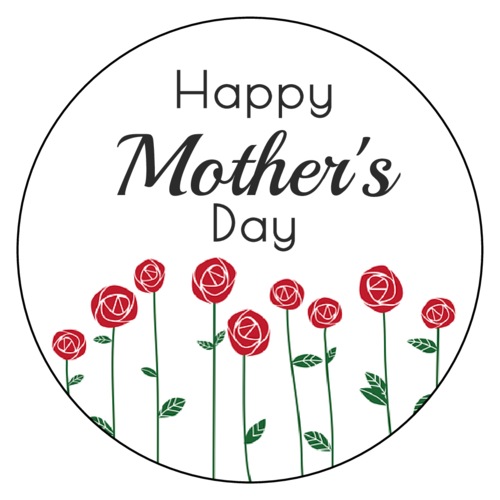 "OL375 - 3.33"" Circle - Floral ""Happy Mother's Day"" Labels"
