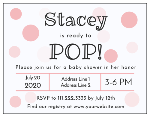 """Ready to Pop!"" Cardstock Baby Shower Invitations pre-designed label template for OL423"