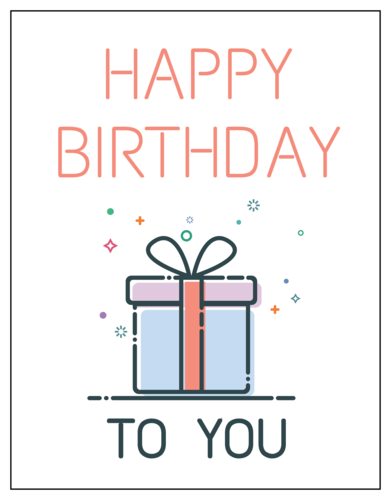 "OL423 - 4.25"" x 5.5""  - ""Happy Birthday to You"" Cardstock Note Cards"