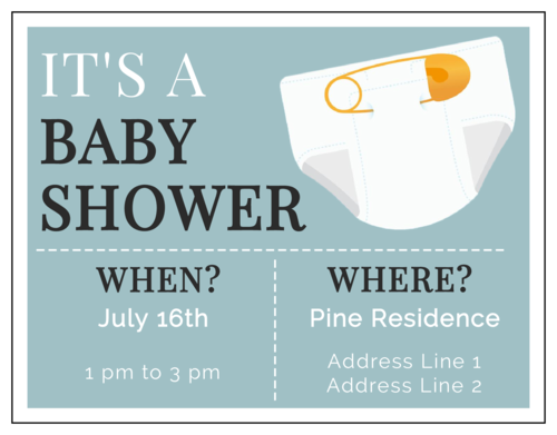 "OL423 - 4.25"" x 5.5""  - ""It's a Baby Shower"" Cardstock Invitation"