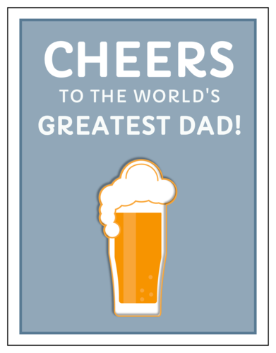 "OL423 - 4.25"" x 5.5""  - ""Cheers to the World's Greatest Dad!"" Cardstock Note Card"