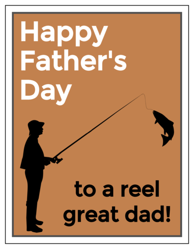 "OL423 - 4.25"" x 5.5""  - ""Happy Father's Day to a Reel Great Dad!"" Cardstock Note Cards"