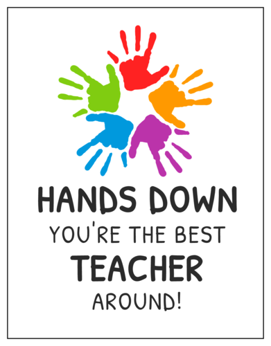 """Hands Down You're the Best Teacher Around!"" Cardstock Note Cards pre-designed label template for OL423"